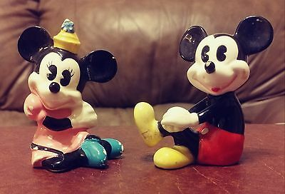 Vintage Mickey and Minnie Mouse Disney Figurines: Made in Japan