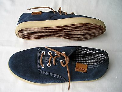Womens GALLAZ Blue Suede Leather Lace SNEAKERS SHOES - Size 7