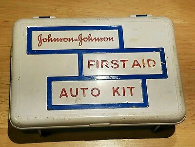 Vintage Johnson and Johnson First Aid Auto Kit Filled W/Gauze,Tape,Scissor+++