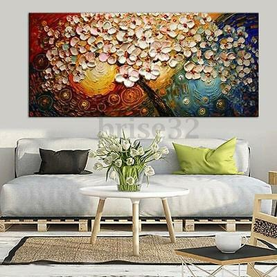 Hand-painted Peacock Tree Canvas Abstract Oil Painting Print Wall Decor No Frame