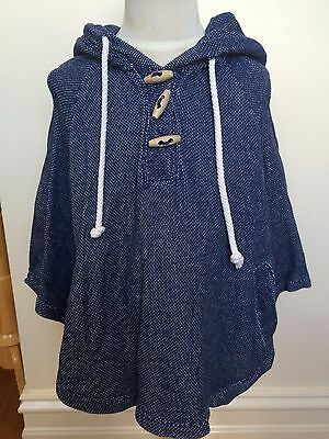COUNTRY ROAD ~ Childs Blue Marle 100% Cotton Hooded Poncho Cape Jacket ~ 05