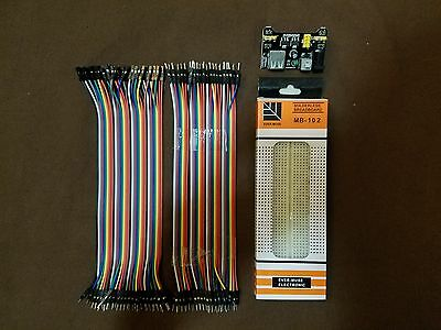 MB-102 830 Point Prototype PCB Breadboard & 80 Jumper Cable Wires & Power Supply