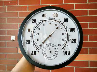 Hygrometer/thermometer 2 in1 250mm diameter black finish - available JUNE 7TH