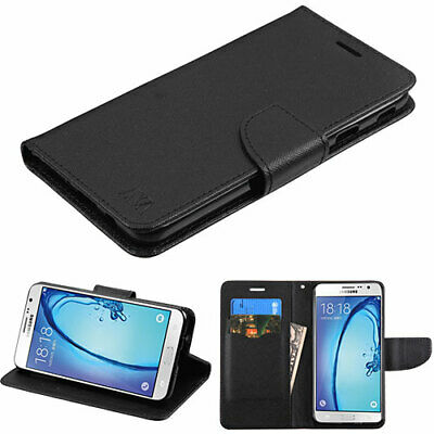 For Samsung Galaxy J7 Prime On7 Leather Flip Wallet Case Cover Pouch Stand Black