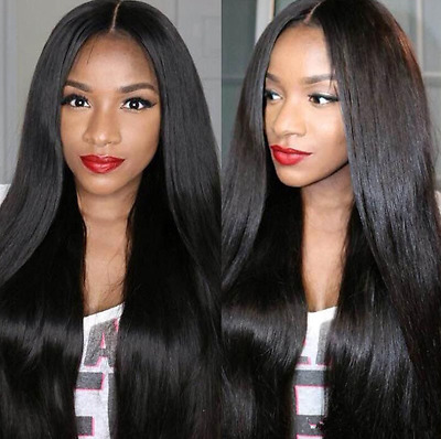 Women Black Long Cosplay Party Wigs Heat Resistant Full Straight Hair Wig