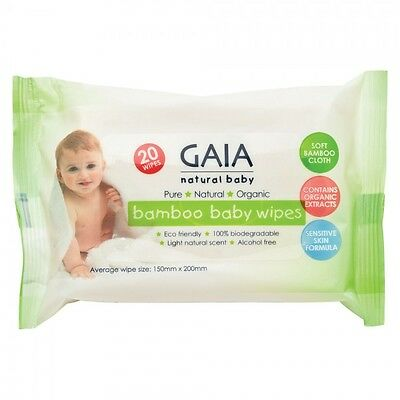 GAIA Baby Bamboo Baby Wipes (Natural, Organic and Alcohol Free) 20 Wipes