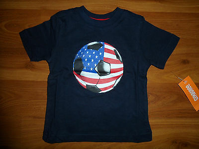 New Gymboree Baby Boy T-SHIRT Gym Navy Soccer Tee Size 12-18 months