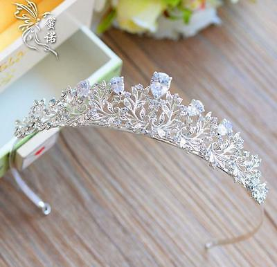 Silver Wedding Bridal Princess Crown Headband Tiara Rhinestone Hair Accessories