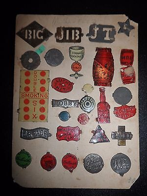 Antique 1880s Victorian TIN TOBACCO TAG ORIGINAL COLLECTION LOT of 29