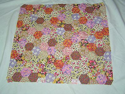 Unfinished Hand Pieced Patchwork Hexagon Quilt Top Pretty Floral Sewing Started