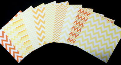 """YELLOW/ORANGE ZIG ZAG Patterned Papers x 10 - 15cm x 15cm (6"""" X 6"""") Paper Crafts"""