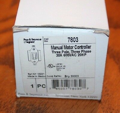 Pass & Seymour 7803 30A Manual Motor Controller, 3 Pols, 3 Phase, New in Box