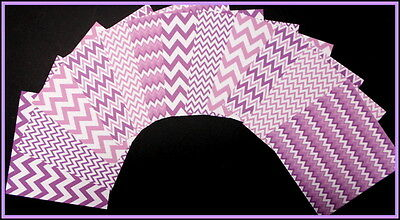 """LILAC/PURPLE ZIG ZAG Patterned Papers x 12 - 15cm x 15cm (6"""" X 6"""") Paper Crafts"""