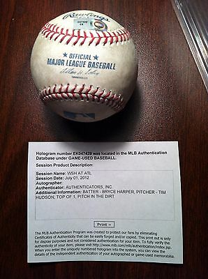 Bryce harper game used MLB authenticated baseball 7/1/12 rookie year vs Braves