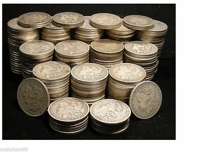 Morgan And Peace Silver Dollar Mix Lot Of 5--- Cull To Fair Condition- Free Ship