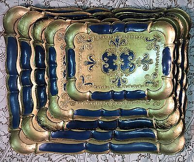 Vintage regency Italian Florentine Gold Gilt Serving Tray Platters Set 5 Nesting