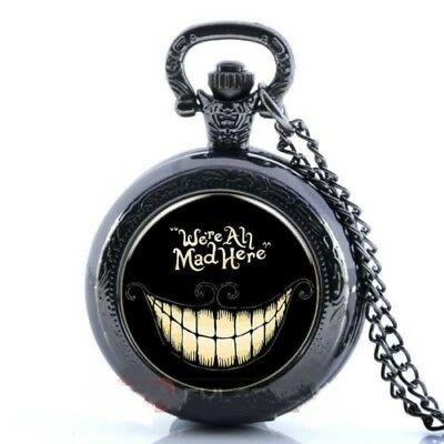 "Alice n Wonderland ""We're All Mad Here"" Mini Black Pocket Watch Necklace Pendant"