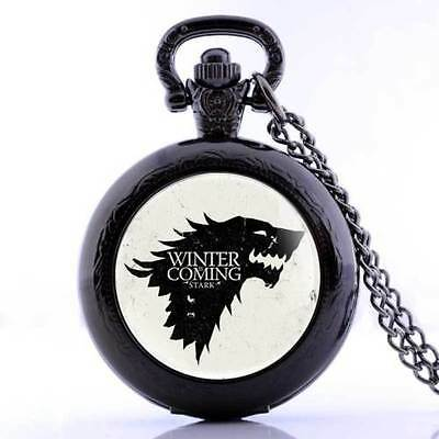 """Game of Thrones Dire Wolf """"Winter is Coming"""" Black Mini Pocket Watch Pendant"""