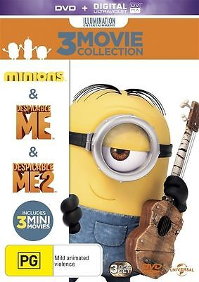 Minions & Despicable Me 1 + 2 3 Movie Collection BRAND NEW SEALED R4 DVD