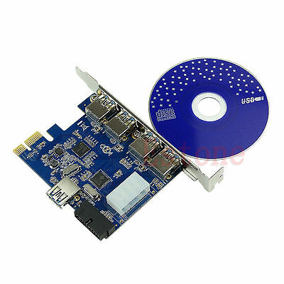 5 Port PCI-E PCI Express Card to USB 3.0+19 Pin Connector Adapter For Win Vista