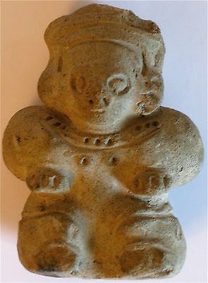 Pre-Columbian Brush Holder Stone Figure With Museum Inventory Markings