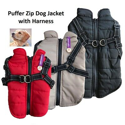 Puffer Dog Jacket Zip Harness Small Med Dogs Pet Puppy Coat Vest Black Brown Red