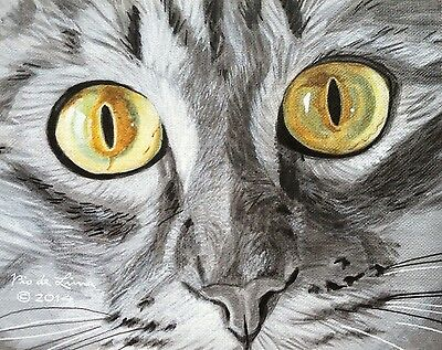 "Original Tabby Cat 8x10"" Unframed Acrylic Painting Canvas Board Pet Art"