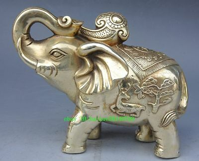 Chinese antique Brass Hand Carved Elephant & Ruyi Statue
