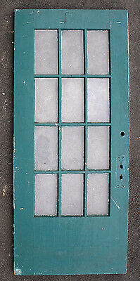 "36""x83"" Antique French Exterior Entry Wood Wooden Door Glass 12 Window Lite Pane"