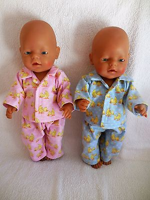 "Baby Born 17"" Dolls Clothes Pink Or Blue Ducks Flannelette Pyjamas"