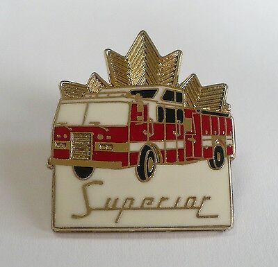 Superior Fire Truck Pin Three Color Gold Tone Collector Red Deer Alberta