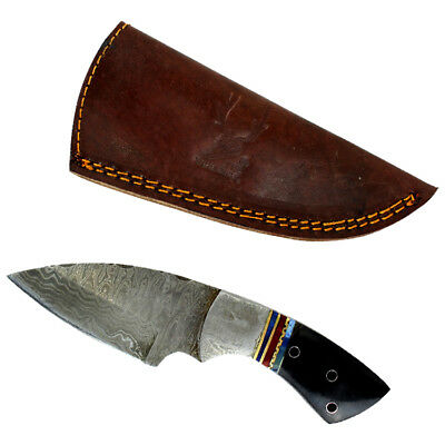 "TheBoneEdge  7"" Damascus Steel Knife Fixed Blade Full Tang Black  Horn Handle"
