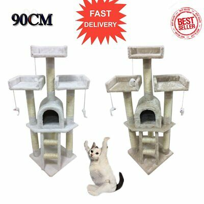 Cat Tree Activity Centre Scratcher Scratching Post Sisal With Toys Bed rest SAS