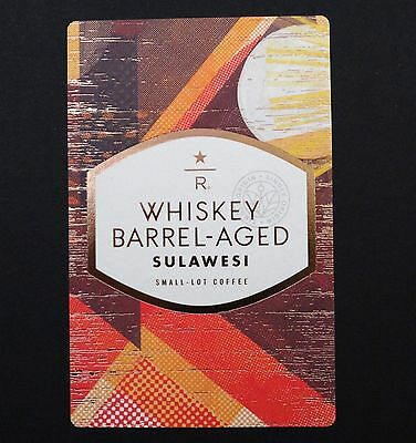 STARBUCKS  2017 Reserve Coffee WHISKEY BARREL AGED SULAWESI  Taster Card  RARE