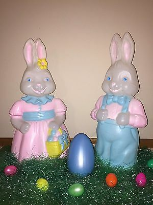 "Vtg Empire Trio Set of 26"" Mr. & Mrs. Easter Bunny Lighted Blow Mold Yard Decor"