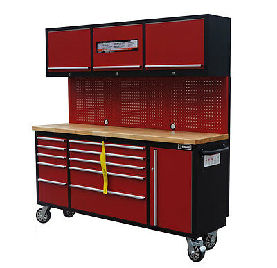 """72"""" Mechanic Red-Black Rollin Tool Chest Combo Tool Box Wooden Top Workbench"""