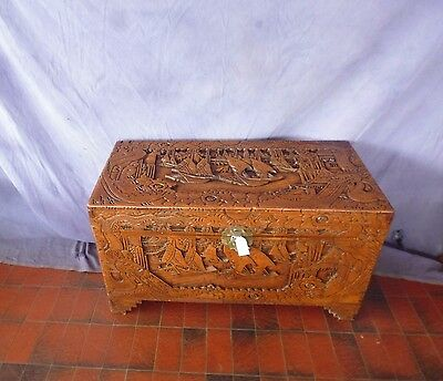 Camphor Wood Chest Large Carved 369319