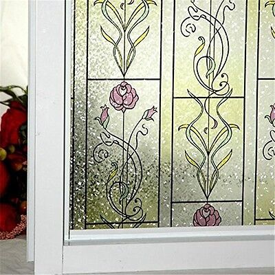 Window Films Static Cling Stained Glass Decorative Red Rose - 24-by-78.7-Inch