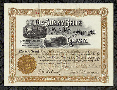 1893 BOULDER CO. COLORADO Sunny Belle Mining & Milling Company Stock Certificate