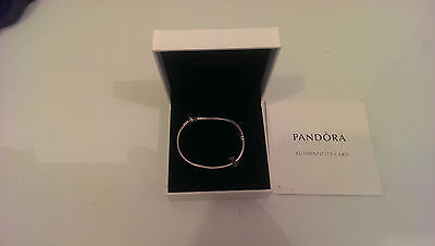 Authentic Genuine PANDORA Sterling Silver Bracelet with Clasp & 1 Present CHARM