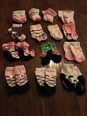 Lot of Baby Girl Socks (14 Pairs) Size 0-6 Months: Mud Pie, Gap, Mary Jane