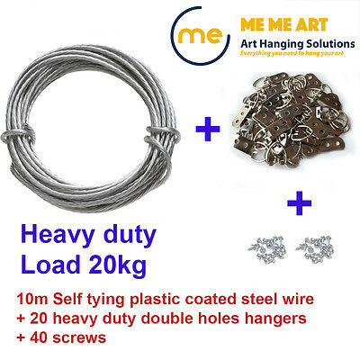 Picture Framing Heavy Duty Set - Picture Hanging Wire 10m +D rings 20 +Screws 40