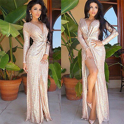 UK Womens Long Formal Prom Midi Dress Cocktail Party Ball Gown Evening Dresses