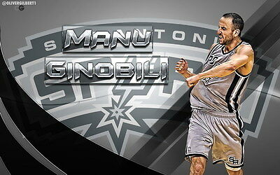 "018 Manu Ginobili - San Antonio Spurs GDP Super Star NBA 38""x24"" Poster"
