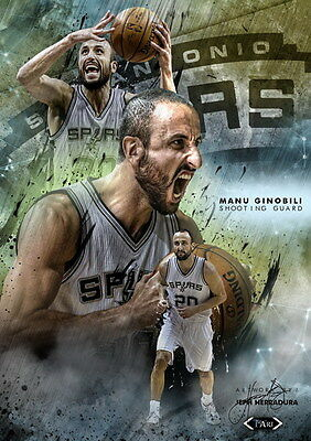 "015 Manu Ginobili - San Antonio Spurs GDP Super Star NBA 24""x33"" Poster"