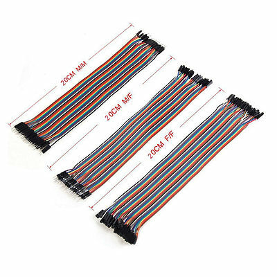3 x 40pcs 20cm 2.54mm Male to Female Dupont Wire Jumper for Arduino Breadboard