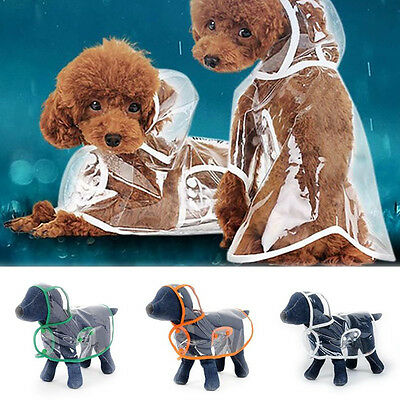 Dog Puppy Pet Transparent Rainwear Raincoat Pet Hooded Waterproof Jacket Clothes