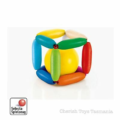 "Selecta Wooden ""Cubinello"" Baby Toy Rattle Cube Elastic Clutching Ball Gift"
