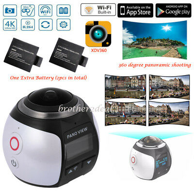 Waterproof 360° Panoramic 4K HD 2448P Camera Sports DV Action Cam+Extra Battery