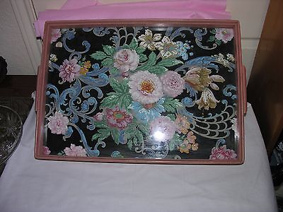Vintage Glass Top & Wood Ornate Framed Serving/Dresser Tray